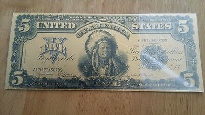 Colourized $5 USA Silver Certificate 1889 Indian Chief Gold Plated Banknote