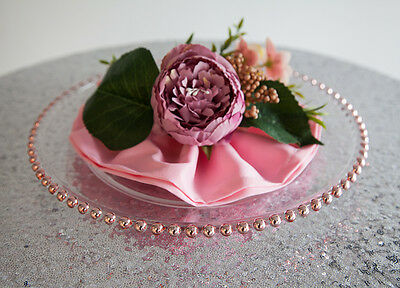 Glass Charger Plate Beaded Rose Gold Xmas Events Weddings 33Cm Diameter