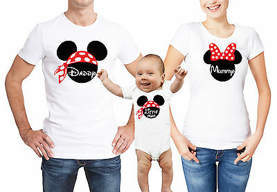 Mickey Mouse inspired family matching T-shirts and babygrow with custom text.