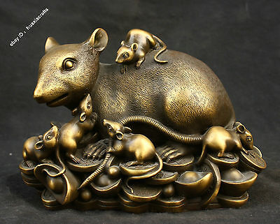 """10"""" Chinese Excellent Old Antique Pure Bronze Nine mouse Yuan Bao Coin Sculpture"""