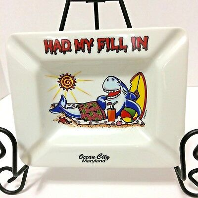 Ceramic Souvenir Ashtray Laughing Sunbathing Shark Surfboard Drink OCEAN CITY MD