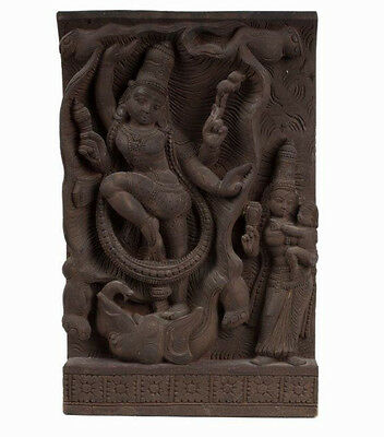 Südindien 20. Jh Holzrelief A South Indian Wood Relief Shiva & Parvati Bois Inde