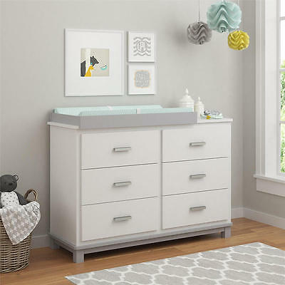 Cosco Leni 6 Drawer Dresser with Changing Table - White/Light Slate Gray
