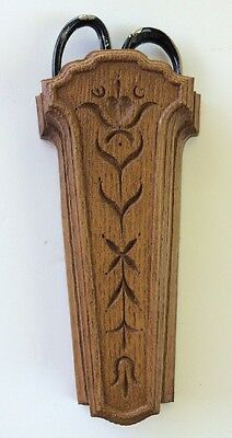 Wall Hanging HOMCO Scissor Holder Vintage Wood Look Country Style
