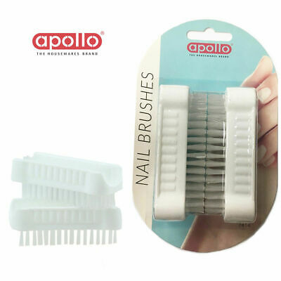 2 Nail Brush Scrubbing Pack Double Side Cleaning Manicure Pedicure Care Tool Set