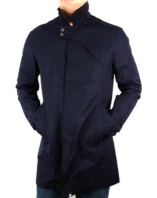 Genuine Pretty Green Mens Navy Blue Mayfair Trench Jacket Coat Size L