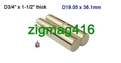 """1 pc of  Grade N52 D3/4"""" x 1-1/2""""  thick Rare Earth Neodymium Cylinder Magnet"""