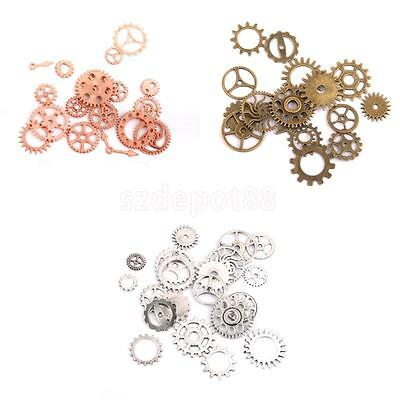 Lot Of Antiqued Bronze Vintage Alloy Steampunk Wheel Gear Pendant Charms