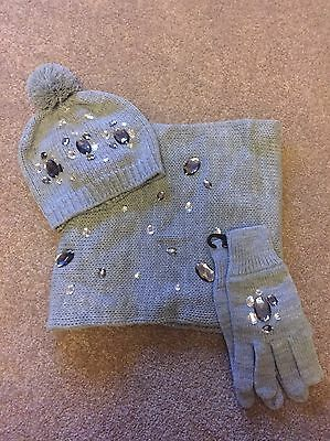 Grey Wool Hat Gloves And Snood With Diamonte  From H &M Age 11-14yrs