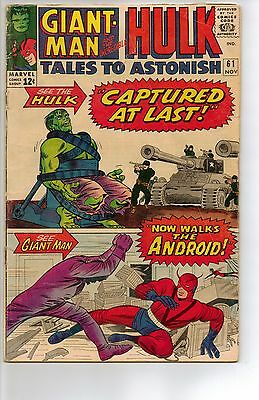 Tales to Astonish # 61 - VG 4.0 - 1964 1st Appearance Major Talbot; Hulk