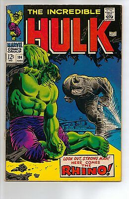 Incredible Hulk # 104 - VG+ 4.5 - 1968 Rhino