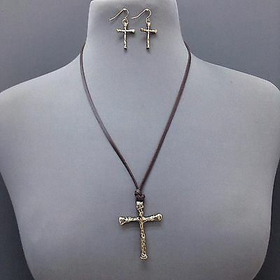 Trendy Brown Leather Antique Gold Hammered Cross Pendant Necklace With Earrings