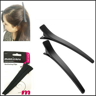 2 Hair Section Clips Salon Styling Crocodile Snap Hold Grip Matte Hairdressing