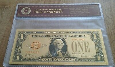 Colourized $1 USA 1928 Gold Certificate 24k Gold Plated Banknote COA (n45c)