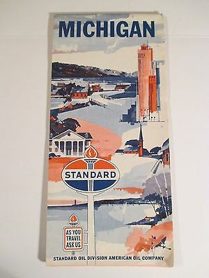 VINTAGE 1965 STANDARD OIL MICHIGAN Gas Service Station Road Map