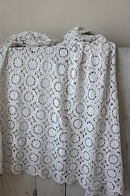 Vintage French hand-made bed cover coverlet crochet linen cotton 69X80 old
