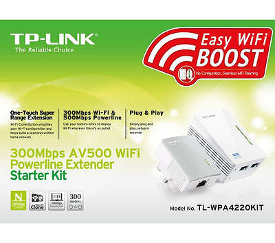 TP-LINK TL-WPA4220KIT AV500 POWERLINE  500Mbps WIRELESS N300 2x ETHERNET+WIFI