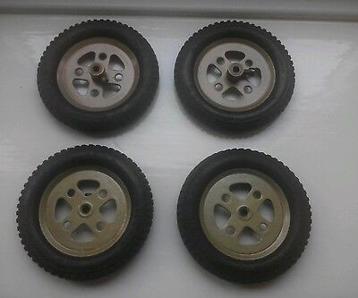 """meccano 3"""" wheels  black rubber tyres, gold painted rims with holding screws x4"""