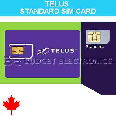 Telus Standard Size Prepaid SIM Card No Contract Travel Canada