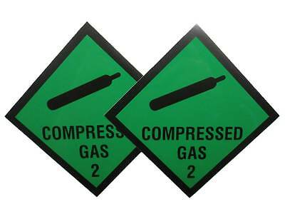 2x Green Compressed Gas Magnetic Signs for Car / Vehicle for Paramedic Ambulance
