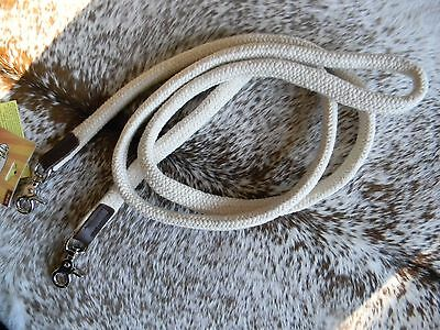 Cream Color Flat Cotton Western 7 Foot Roping Rein Scissor Snaps New Horse Tack