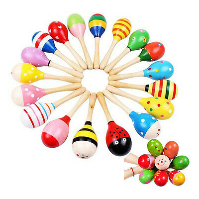 10Pcs Wooden Maraca Rattles Shaker Percussion Kids Baby Musical Toy Favor Funny
