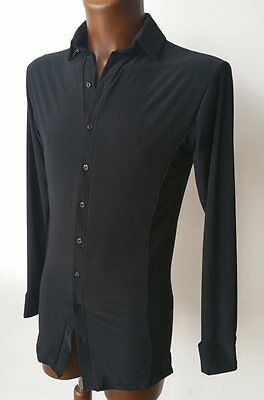 Mens Stretchy Dance Practice Shirt W Buttons For Salsa, Tango, Latin. Black
