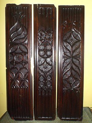 Rare Set Early 16th Century Medieval Gothic Carved Oak Panels