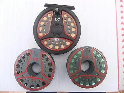 Leeda Lc 100 Fly Reel With 2 Spare Spools And Cortland Peach 44 Line