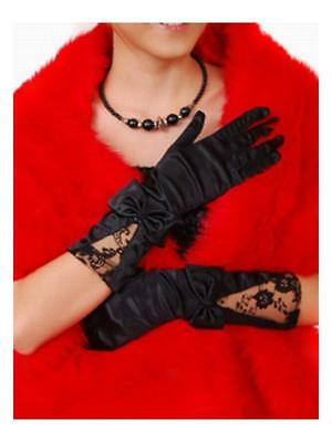 Fairytale Princess Black Bow Lace Short Wedding Party Gloves/protect