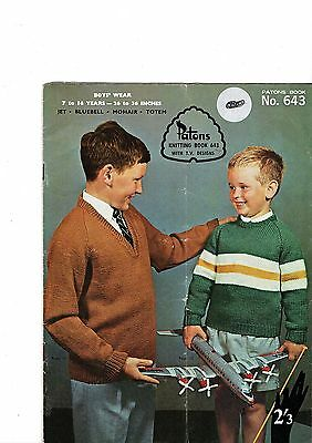 Vintage Patons 643 - Boys from 7 to 16 years - knitting patterns
