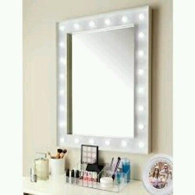 Hollywood 24 Warm White LED Bulb Makeup Mirror Vanity Wall Table White Gloss NEW