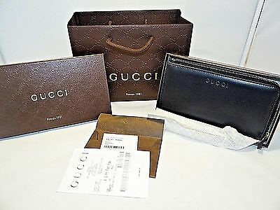 Gucci Unisex 332747 Black Calf Leather 3/4 Zip Clutch Wallet NWT & Gift Bag 495