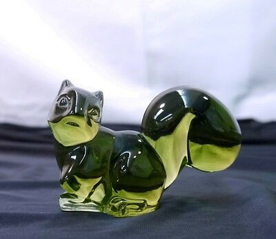 Green Glass Squirrel Paper Weight