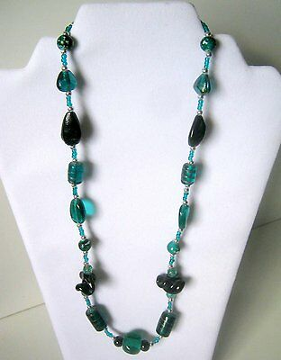 Teal Glass Bead Necklace, Fashion Jewelry
