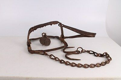 Antique Primitive Old Big Hand Forged Wrought Iron Wolf Trap.