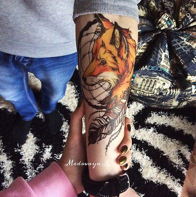 2016 21 X 15 CM Yellow Fox and Feather Cool Beauty Tattoo Waterproof Hot