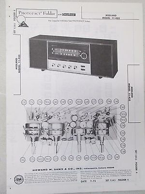 Vintage Sams Photofact Folder Radio Parts Manual Midland 11-433 AM FM Stereo