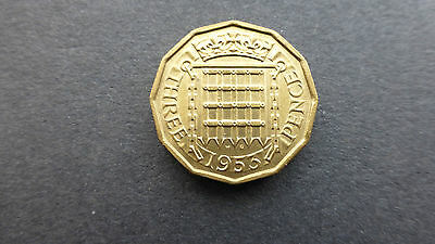 1953 brass threepence coin A/unc