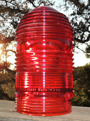 Explosion Proof INDUSTRIAL Signal Light Red Lens Vintage Steam Punk Glass