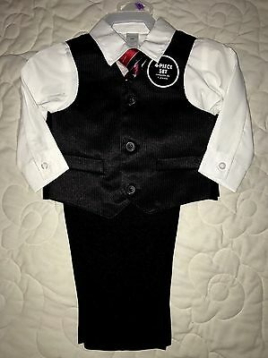 NEW Baby Boys Size 12 Months Suit Vest Red tie Shirt Pants Church Wedding
