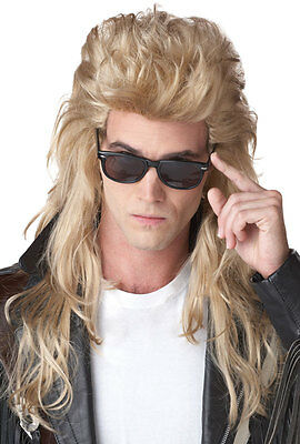 80's Rock Mullet Halloween Costume Wig (Blonde)