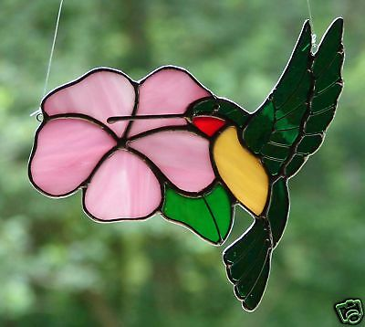 Stained Glass Hummingbird and Pink Flower
