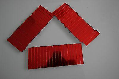 Mosaic Red Mirror Glass strips for Art & Craft 1.6 mm thick, 4 x 0.5 cm, 50 pcs