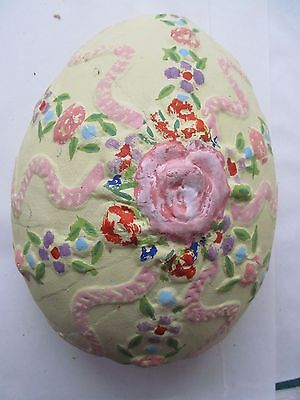 Unique Decorated Floral Easter Egg Papier Mache Plaster JUMBO Pink Yellow Green