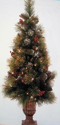 4 Ft. Prelit Artificial Porch Potted Christmas Decorated Urn Tree 100 Lights