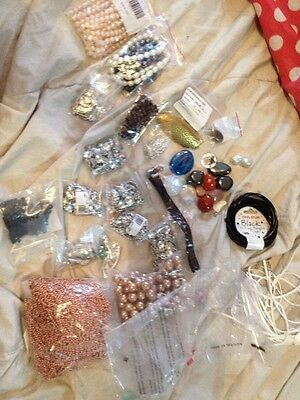 Bulk Lot Of Jewellery Making Items Beads  Clips Chains Etc New Free Post (d45)