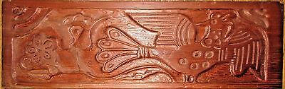 Antique or Vintage Hand Carved Redwood Board/Plank Pacific NorthWest Inuit Style