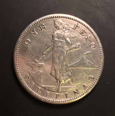 argent silver one peso 1908 filipinas