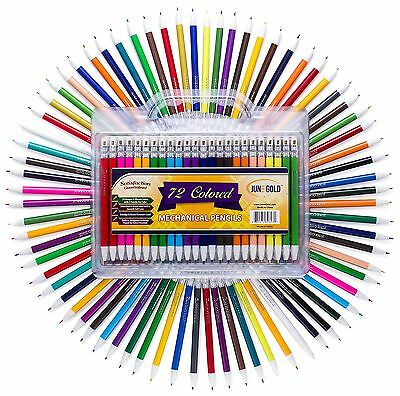 June Gold 72 Colored Mechanical Pencils, 2.0 mm Lead, Extra Bold & 90 mm Tall